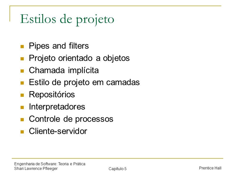 Estilos de projeto Pipes and filters Projeto orientado a objetos