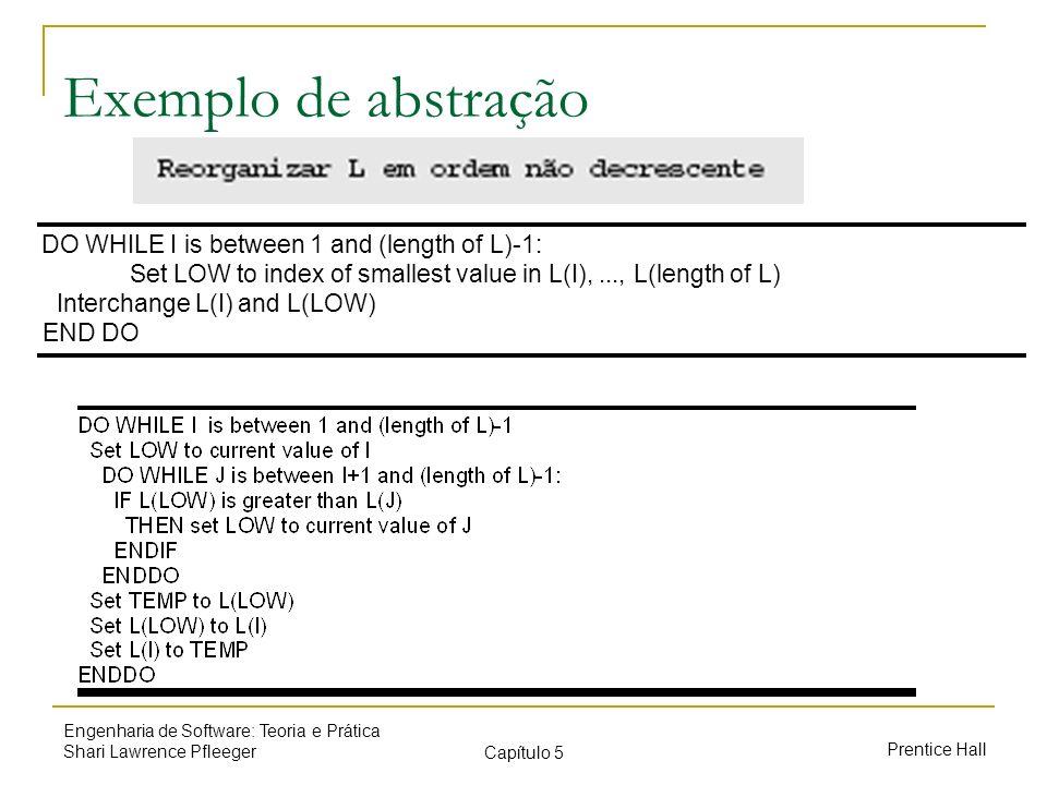 Exemplo de abstração DO WHILE I is between 1 and (length of L)-1: