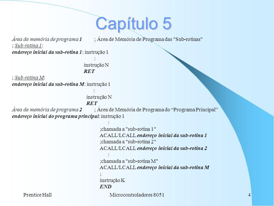 Capítulo 5 Área de memória de programa 1 ; Área de Memória de Programa das Sub-rotinas ; Sub-rotina 1: