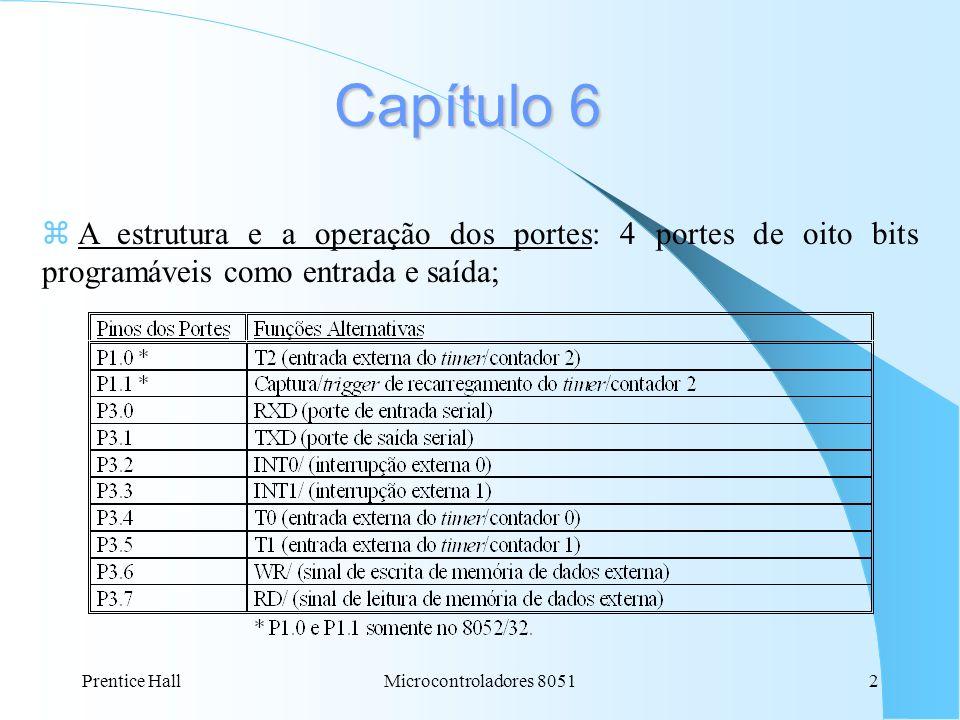 Capítulo 6A estrutura e a operação dos portes: 4 portes de oito bits programáveis como entrada e saída;