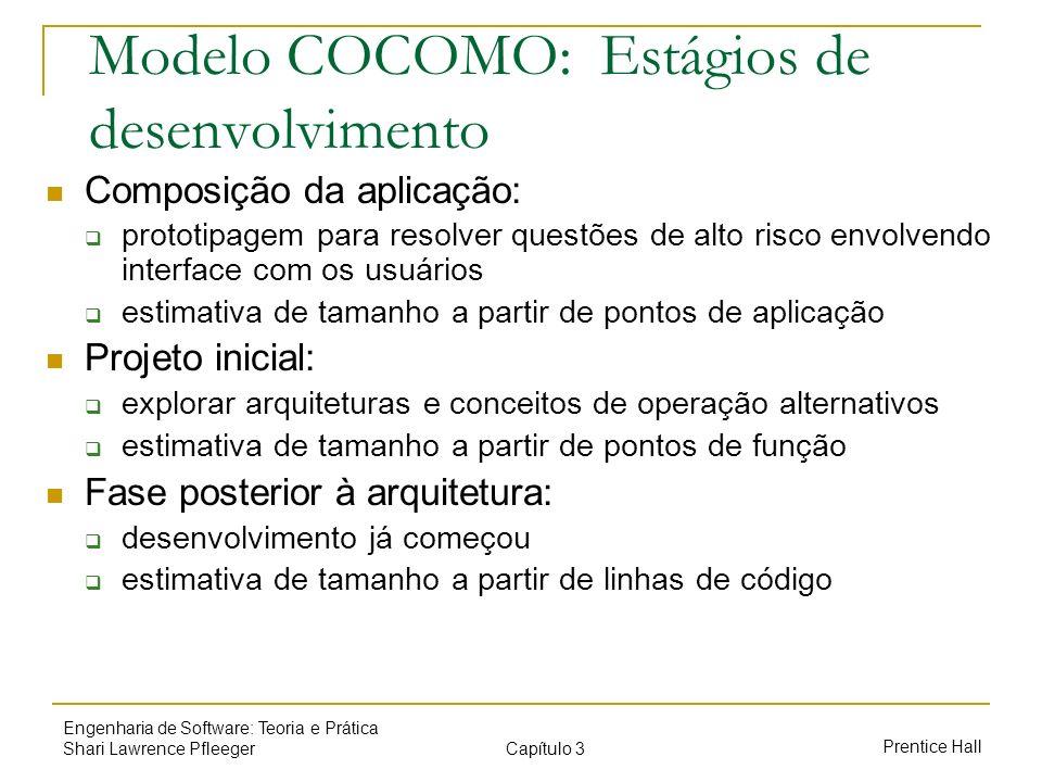 Modelo COCOMO: Estágios de desenvolvimento