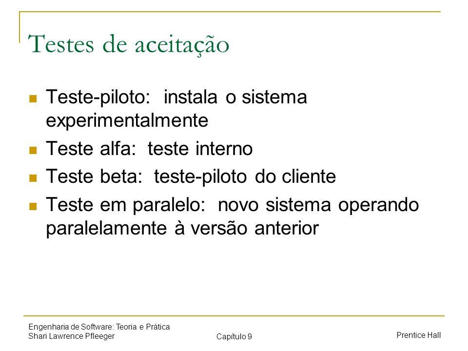 Testes de aceitação Teste-piloto: instala o sistema experimentalmente