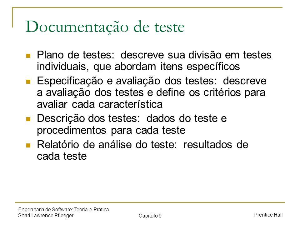 Documentação de testePlano de testes: descreve sua divisão em testes individuais, que abordam itens específicos.
