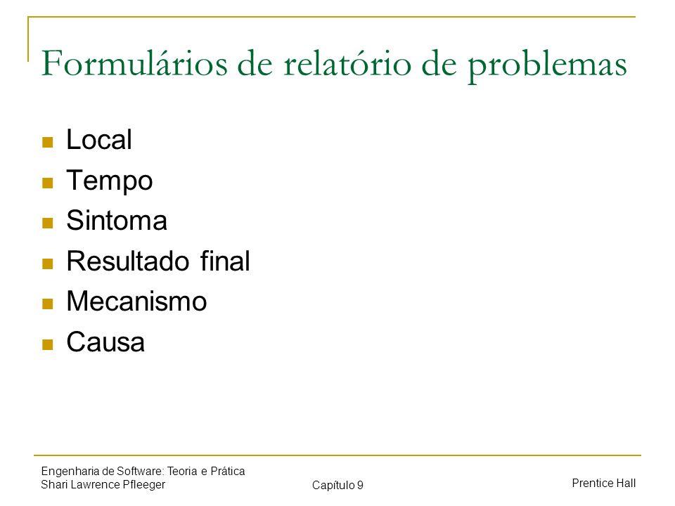 Formulários de relatório de problemas