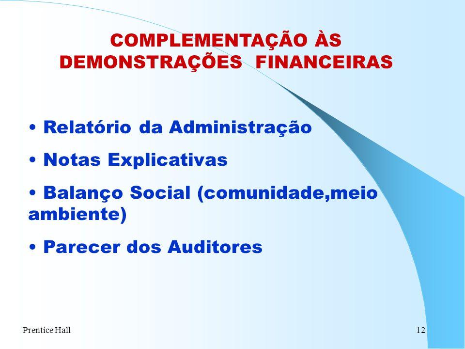 COMPLEMENTAÇÃO ÀS DEMONSTRAÇÕES FINANCEIRAS