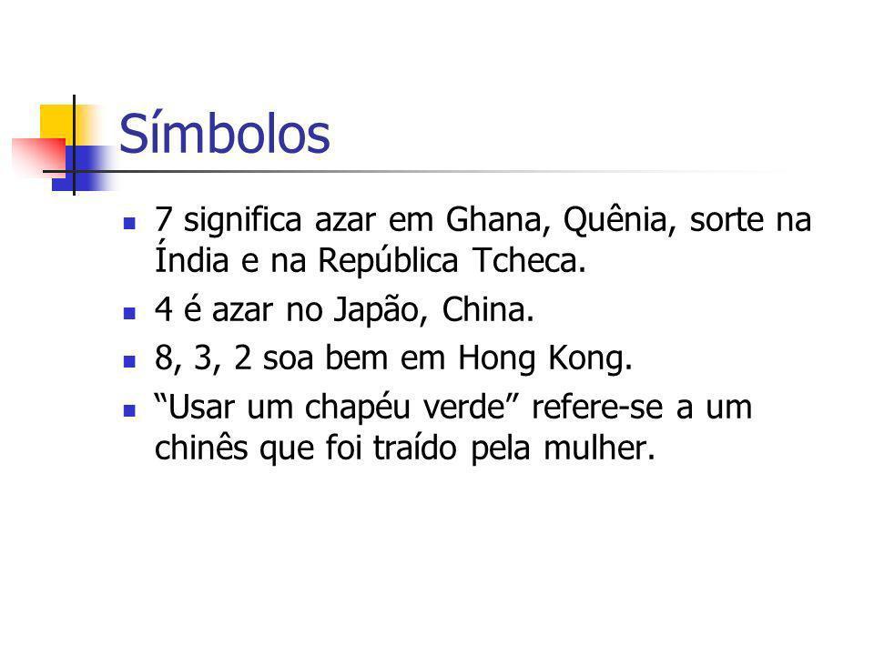 Símbolos7 significa azar em Ghana, Quênia, sorte na Índia e na República Tcheca. 4 é azar no Japão, China.
