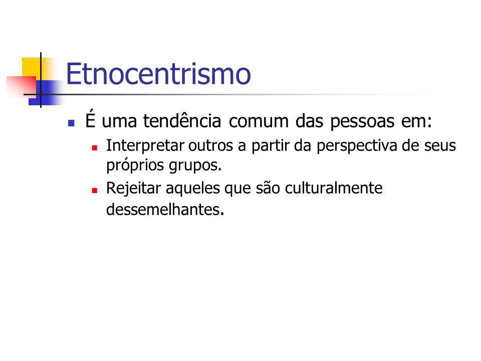 Etnocentrismo É uma tendência comum das pessoas em: