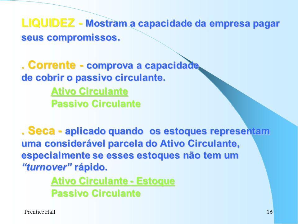 LIQUIDEZ - Mostram a capacidade da empresa pagar seus compromissos.