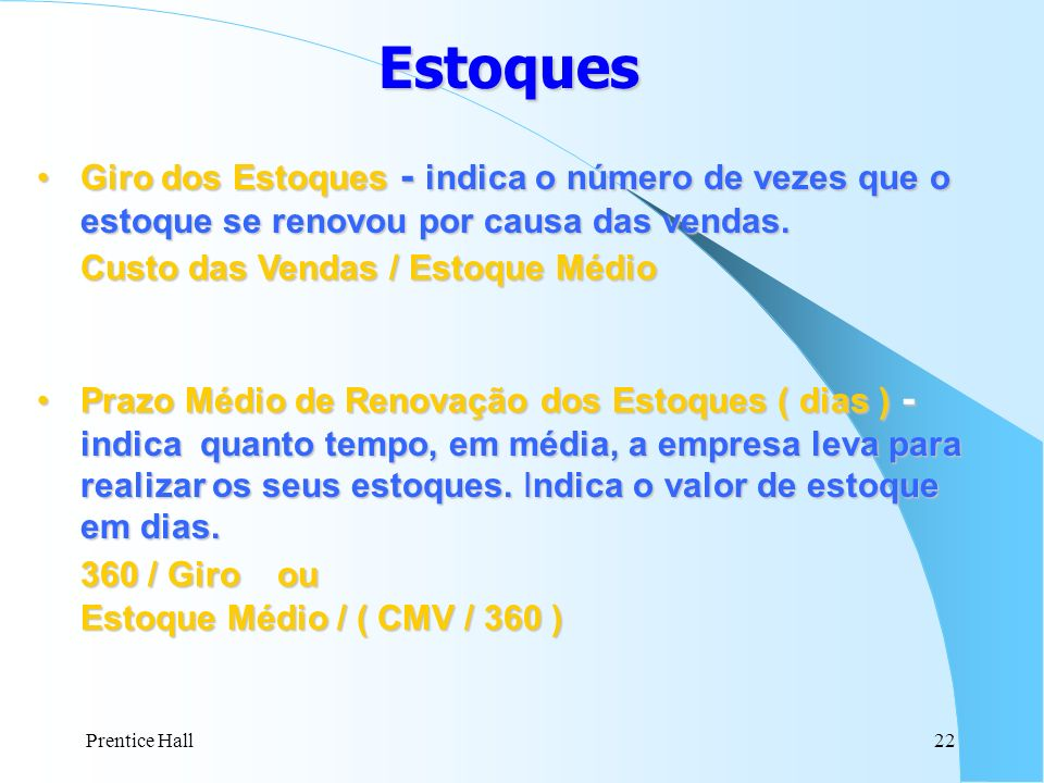 Estoques Custo das Vendas / Estoque Médio 360 / Giro ou