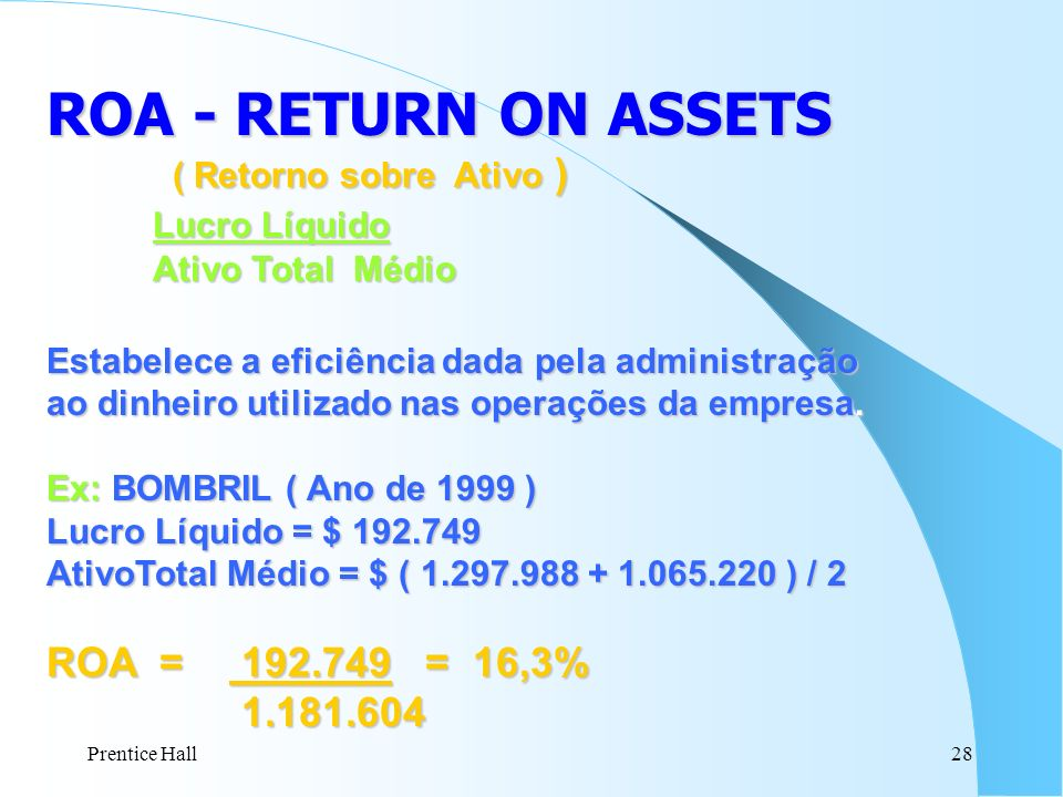 ROA - RETURN ON ASSETS Lucro Líquido ROA = 192.749 = 16,3% 1.181.604