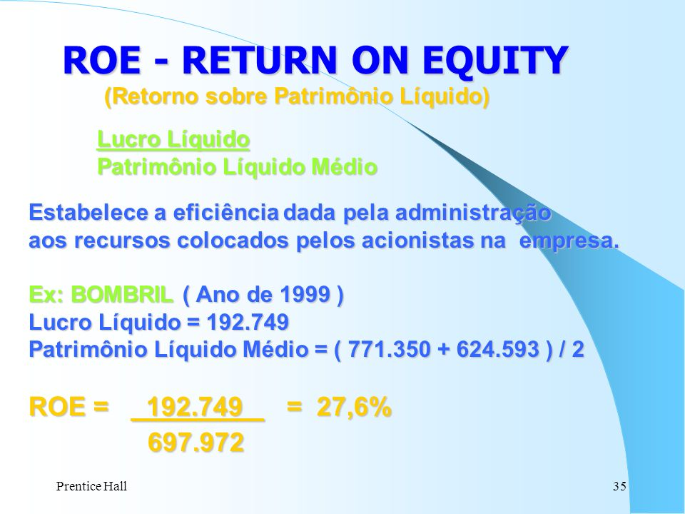 ROE - RETURN ON EQUITY 697.972 Lucro Líquido ROE = 192.749 = 27,6%