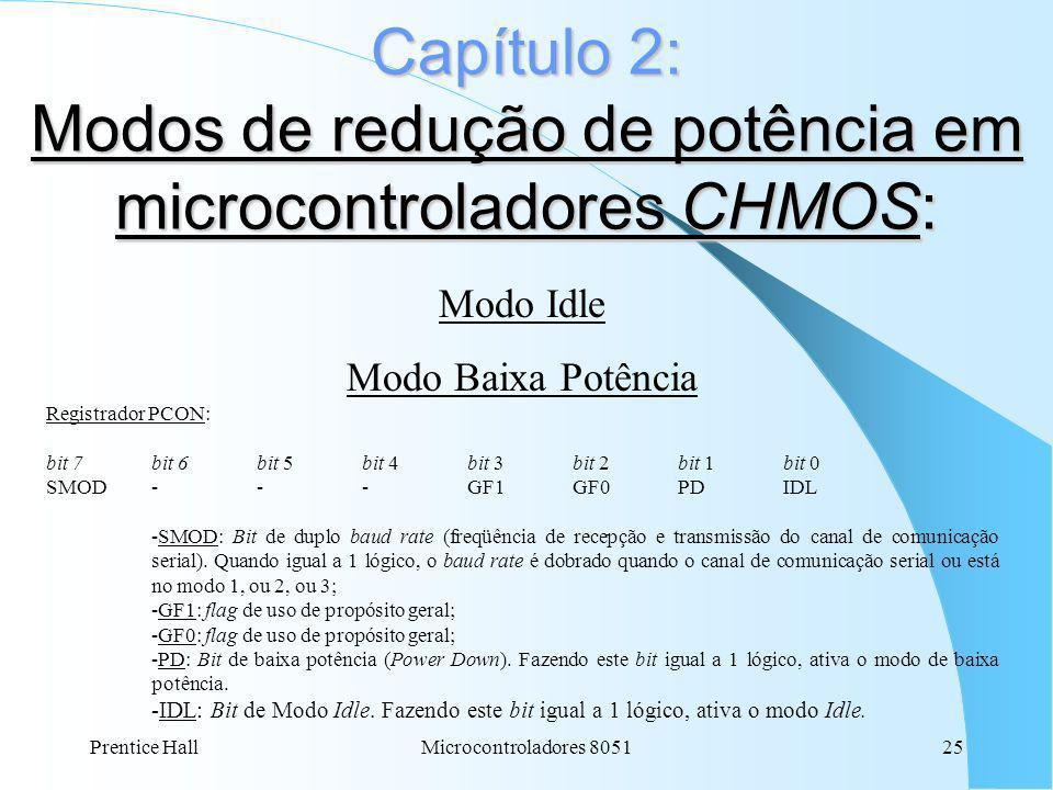 Capítulo 2: Modos de redução de potência em microcontroladores CHMOS: