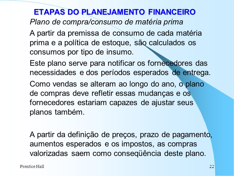 ETAPAS DO PLANEJAMENTO FINANCEIRO