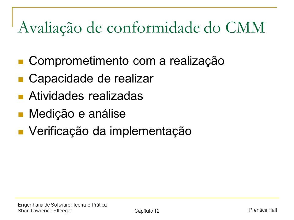 Avaliação de conformidade do CMM