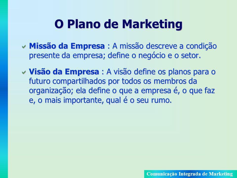 O Plano de Marketing Missão da Empresa : A missão descreve a condição presente da empresa; define o negócio e o setor.