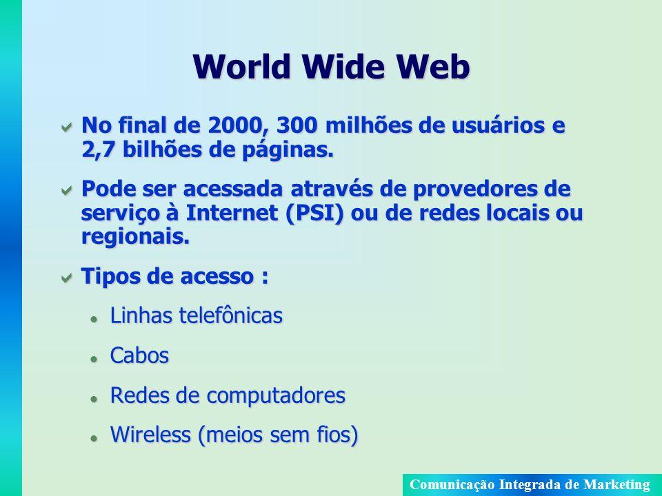 World Wide Web No final de 2000, 300 milhões de usuários e 2,7 bilhões de páginas.