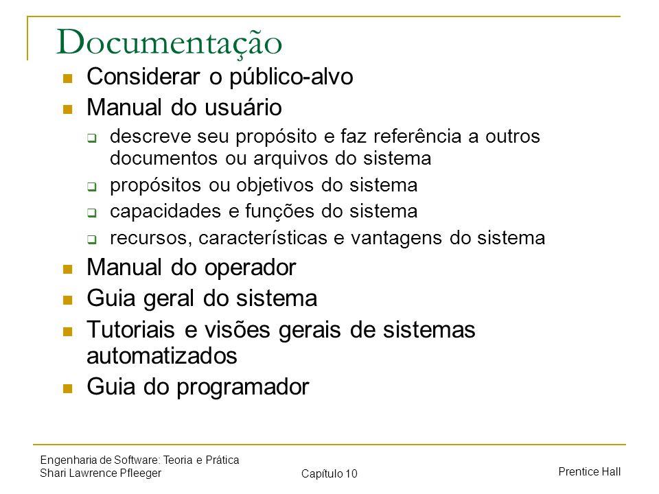 Documentação Considerar o público-alvo Manual do usuário