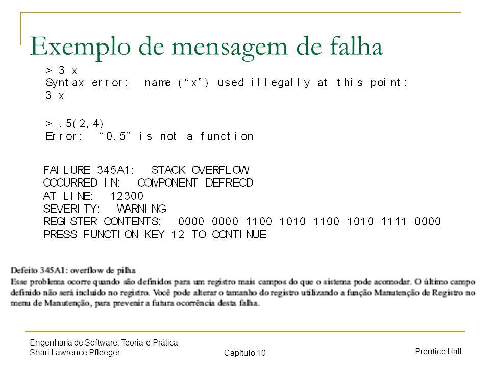 Exemplo de mensagem de falha