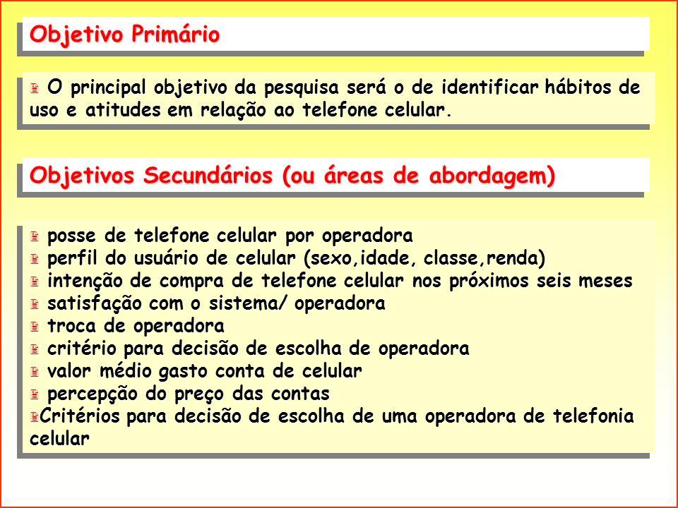 Objetivos Secundários (ou áreas de abordagem)