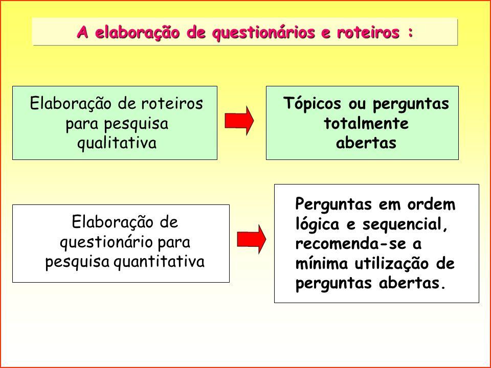 A elaboração de questionários e roteiros :