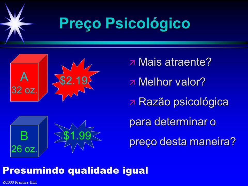 Preço Psicológico A B Mais atraente Melhor valor $2.19