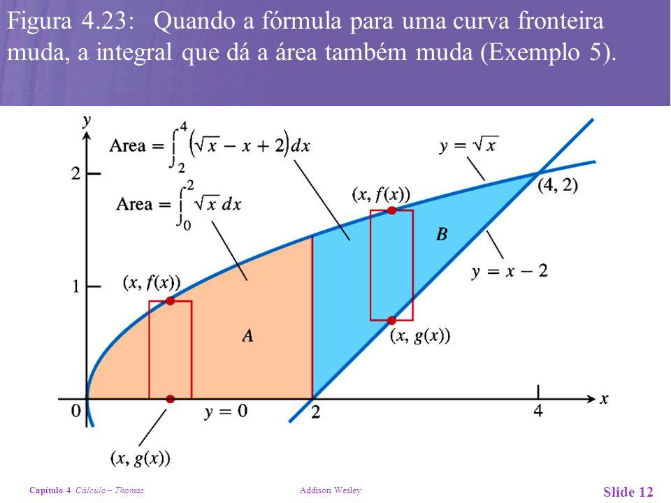 Figura 4.23: Quando a fórmula para uma curva fronteira muda, a integral que dá a área também muda (Exemplo 5).