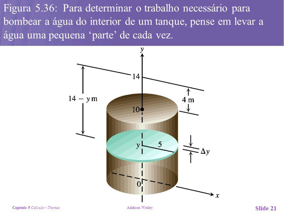 Figura 5.36: Para determinar o trabalho necessário para bombear a água do interior de um tanque, pense em levar a água uma pequena 'parte' de cada vez.