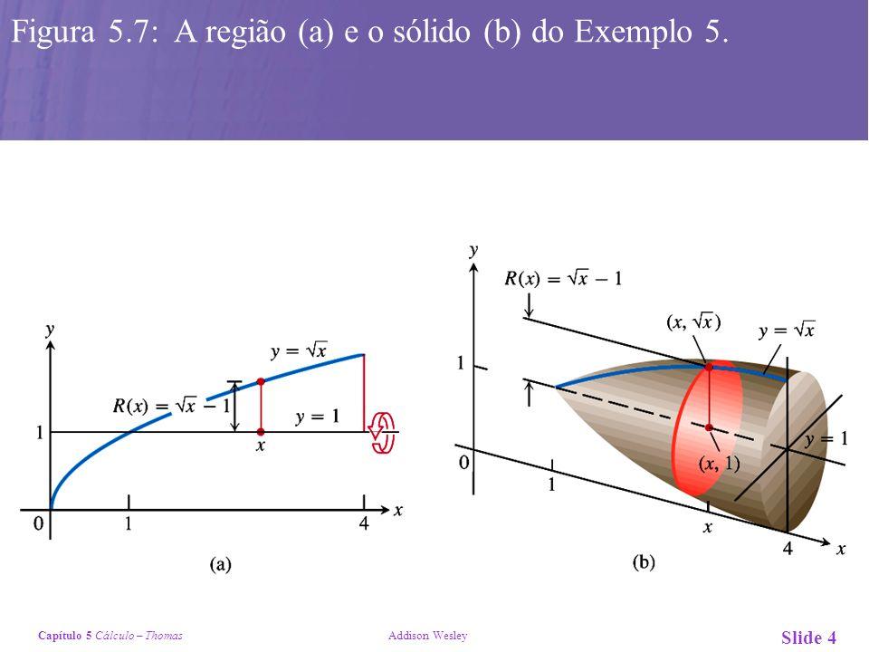 Figura 5.7: A região (a) e o sólido (b) do Exemplo 5.