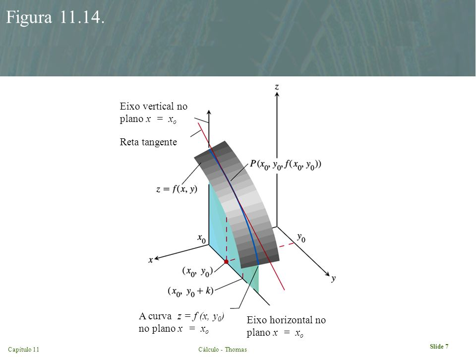 Figura 11.14. Eixo vertical no plano x = xo Reta tangente