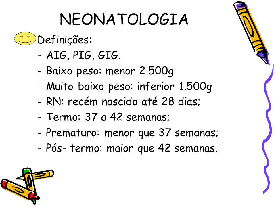 NEONATOLOGIA Definições: AIG, PIG, GIG. Baixo peso: menor 2.500g
