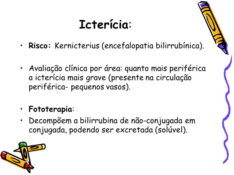 Icterícia: Risco: Kernicterius (encefalopatia bilirrubínica).