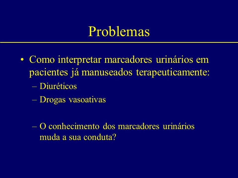 Problemas Como interpretar marcadores urinários em pacientes já manuseados terapeuticamente: Diuréticos.