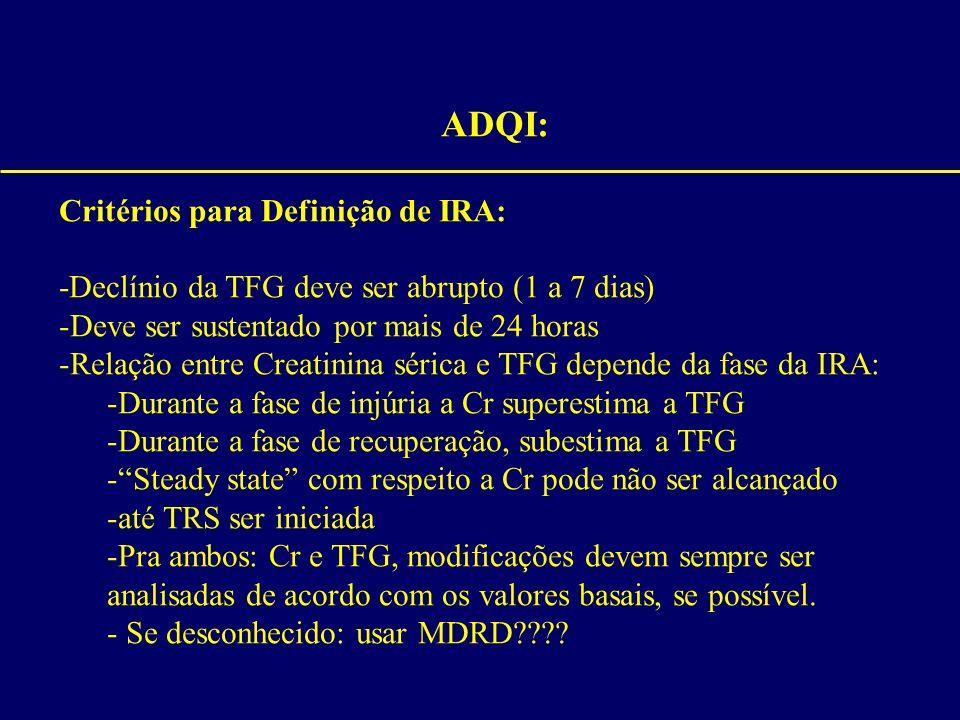 ADQI: Critérios para Definição de IRA: