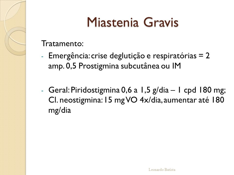 Miastenia Gravis Tratamento: