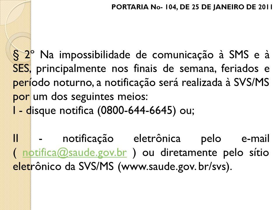 I - disque notifica (0800-644-6645) ou;