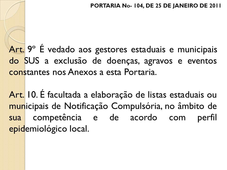 PORTARIA No- 104, DE 25 DE JANEIRO DE 2011