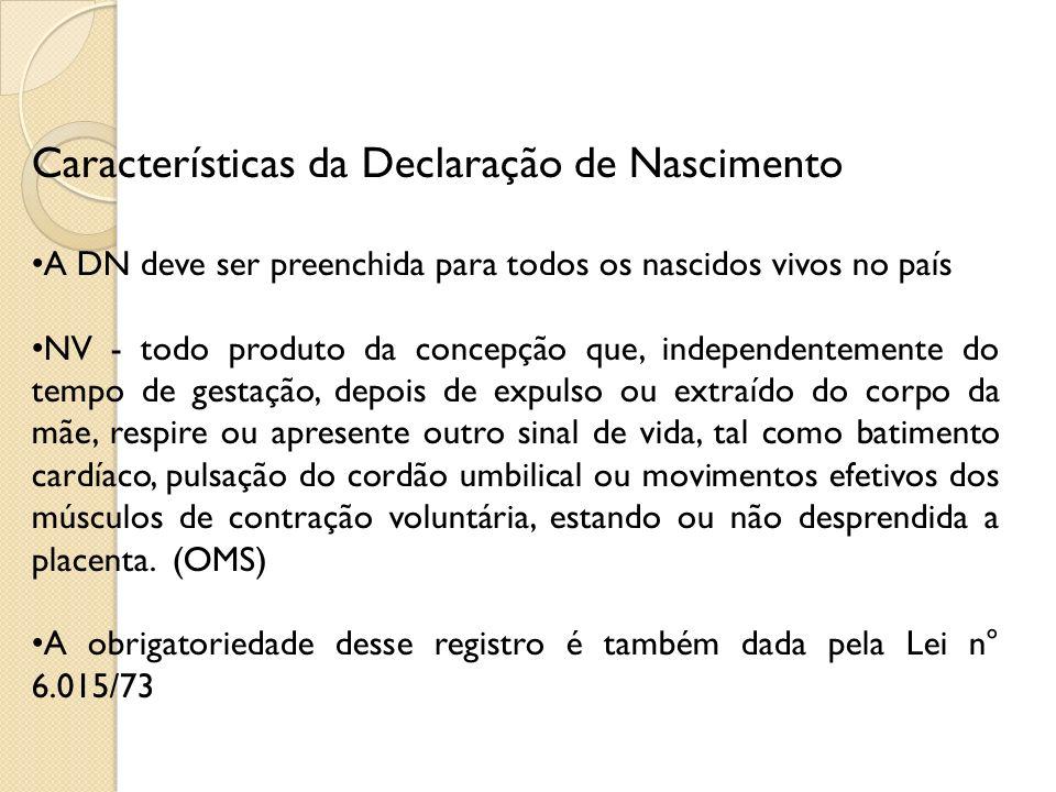 Características da Declaração de Nascimento