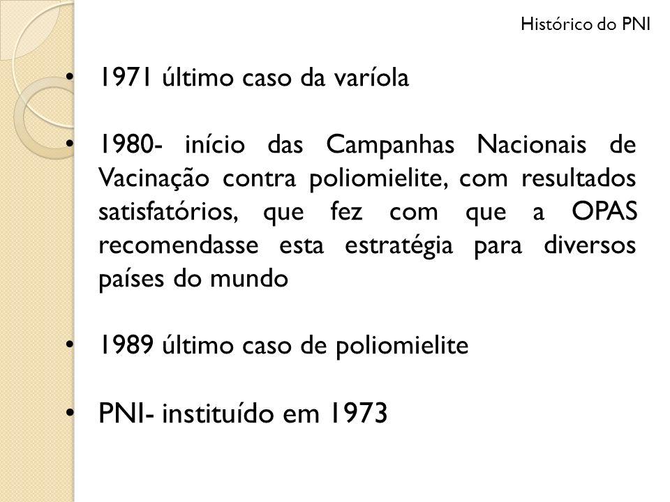 PNI- instituído em 1973 1971 último caso da varíola