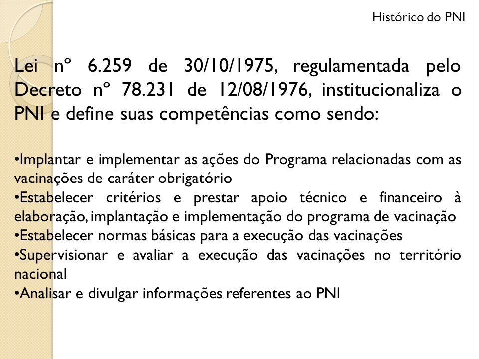 Histórico do PNI