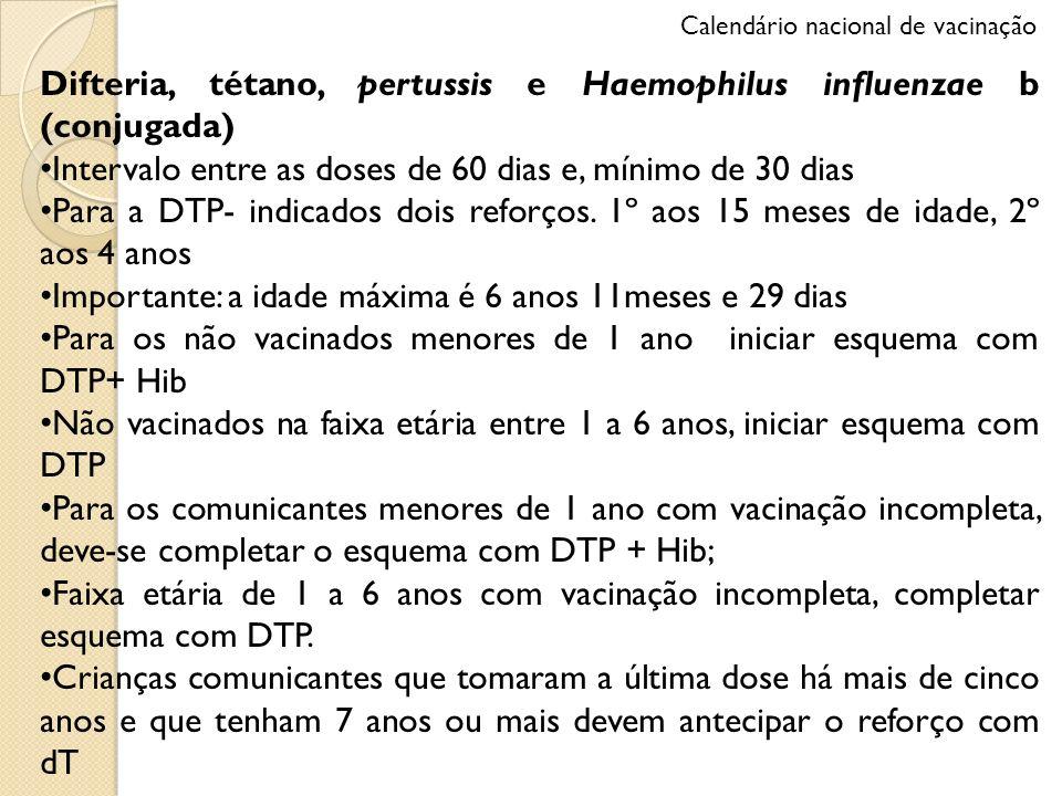 Difteria, tétano, pertussis e Haemophilus influenzae b (conjugada)