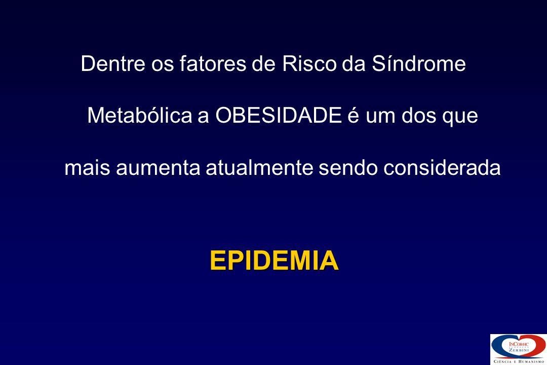 Dentre os fatores de Risco da Síndrome Metabólica a OBESIDADE é um dos que mais aumenta atualmente sendo considerada