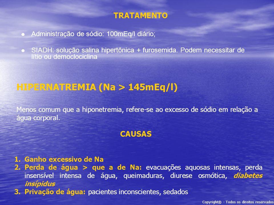 HIPERNATREMIA (Na > 145mEq/l)