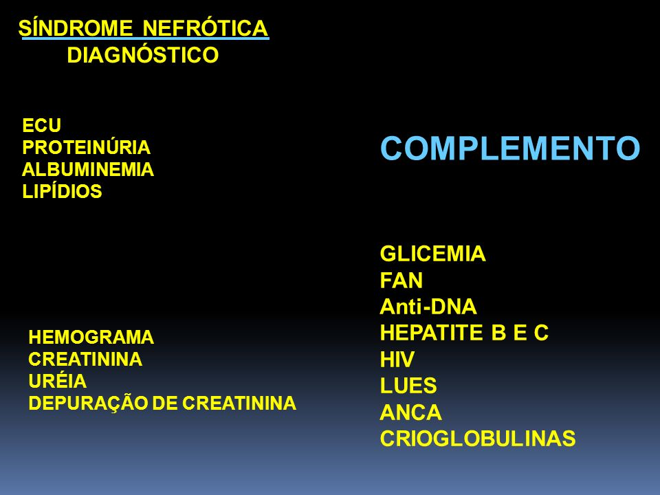 COMPLEMENTO SÍNDROME NEFRÓTICA DIAGNÓSTICO GLICEMIA FAN Anti-DNA