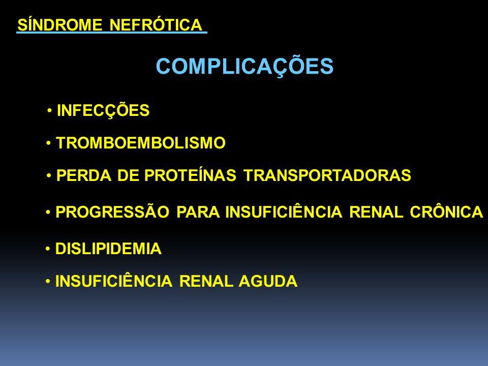 COMPLICAÇÕES SÍNDROME NEFRÓTICA INFECÇÕES TROMBOEMBOLISMO