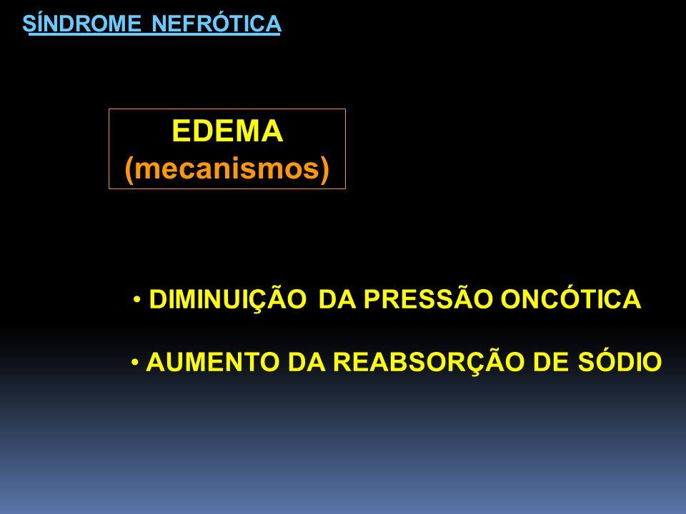 EDEMA (mecanismos) DIMINUIÇÃO DA PRESSÃO ONCÓTICA