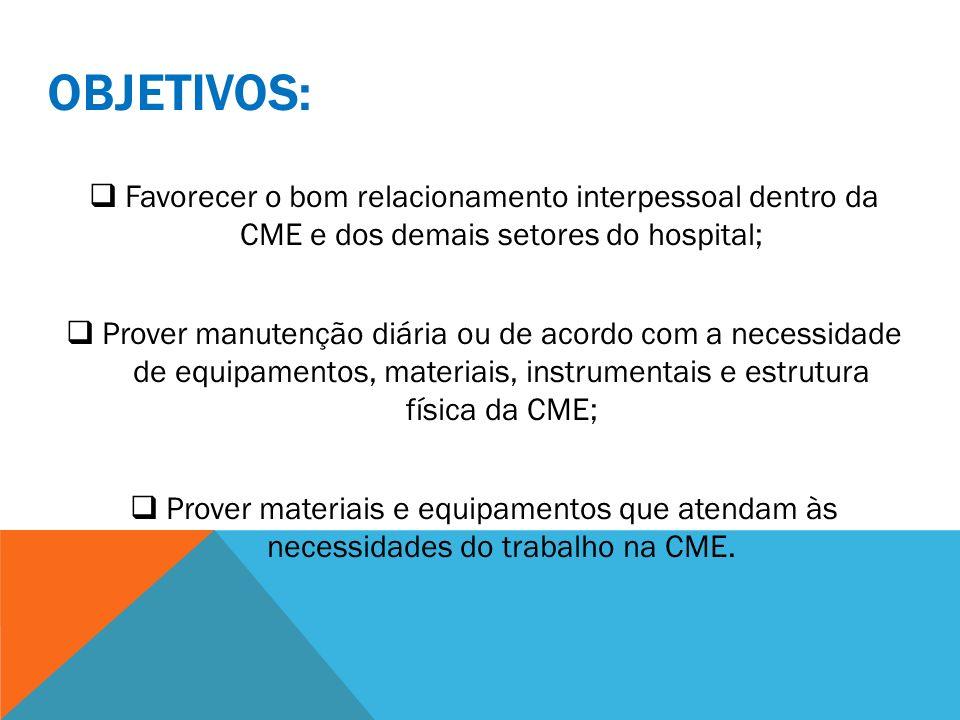 OBJETIVOS:Favorecer o bom relacionamento interpessoal dentro da CME e dos demais setores do hospital;