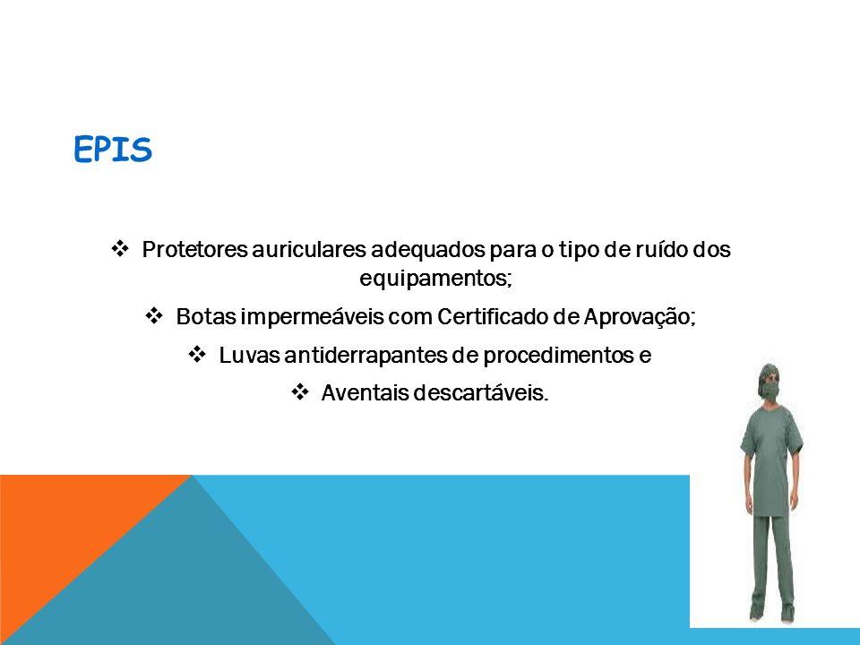 EPIsProtetores auriculares adequados para o tipo de ruído dos equipamentos; Botas impermeáveis com Certificado de Aprovação;