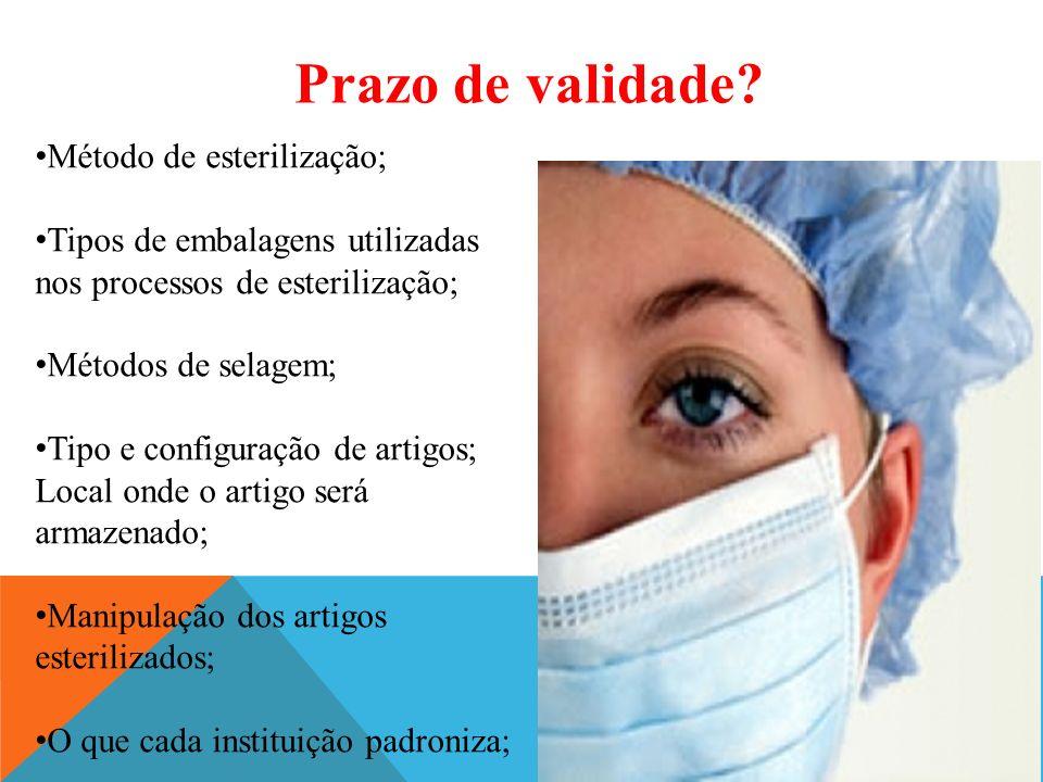 Prazo de validade Método de esterilização;