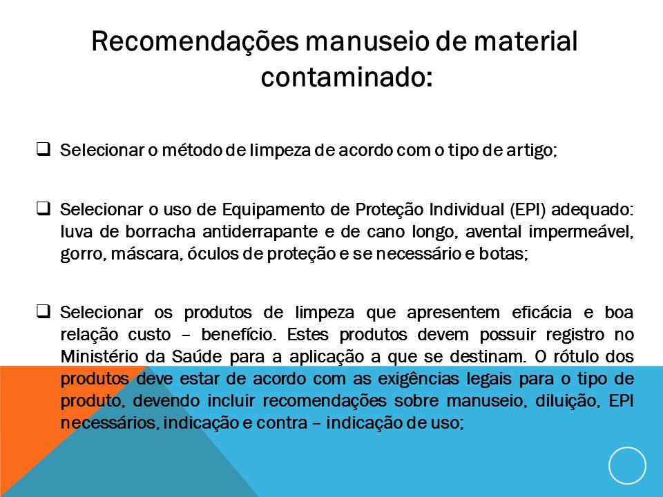 Recomendações manuseio de material contaminado: