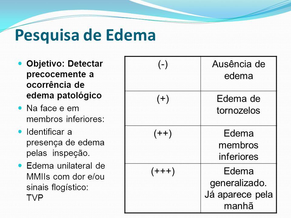 Pesquisa de Edema (-) Ausência de edema (+) Edema de tornozelos (++)
